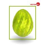 Enkelt guld- fegt ägg på vit bakgrund Färgrikt lyckligt påskhälsningkort, designdiagram Arkivbild