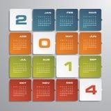 Enkelt   kalender 2014 stock illustrationer
