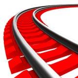 Enkelt krökt isolerat järnvägspår Arkivbild