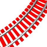 Enkelt krökt isolerat järnvägspår Fotografering för Bildbyråer