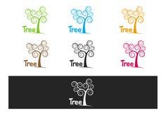 Enkelt lockigt colorfullträd vektor illustrationer