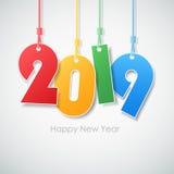 Enkelt lyckligt nytt år 2019 för hälsningkort vektor illustrationer