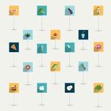 Enkelt minimalistic plan mat och bantar symbolsymbolsuppsättningen. Arkivbild