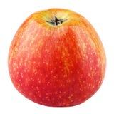 Enkelt nytt rött gult äpple som isoleras på vit arkivfoton