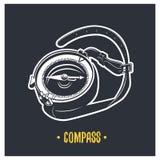 enkelt praktiskt för kompassillustration Vektorlogotyp royaltyfri illustrationer