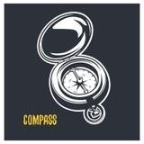 enkelt praktiskt för kompassillustration Vektorlogotyp vektor illustrationer