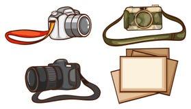 Enkelt skissar av kamerorna av en fotograf Arkivbild