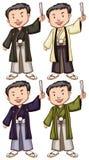 Enkelt skissar av män från Asien Royaltyfri Fotografi