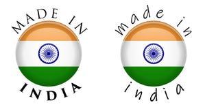 Enkelt som göras i Indien 3D knapptecken Text runt om cirkel med Ind royaltyfri illustrationer