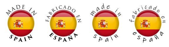 Enkelt som göras i spansk översättning för Spanien Fabricado en Espana stock illustrationer