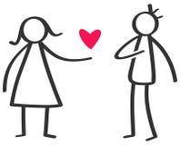 Enkelt svartvitt pinnediagram kvinna som ger förälskelse röd hjärta till mannen, förklaring av förälskelse vektor illustrationer
