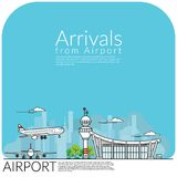 Enkelt vektorillustration av flygplanlandning för ankomst stock illustrationer