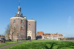 Historic landmark Drommedaris at harbor of Enkhuizen, The Netherlands Stock Images