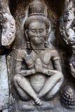 Enkla Bas Relief av enslingen på Preah Khan Temple, Siem Reap Royaltyfria Bilder