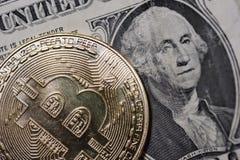 Enkla Bitcoin som visar yttersidadetaljen av coinagen Arkivfoto
