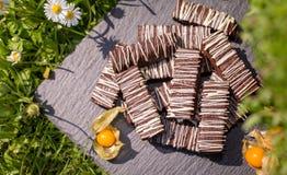 Enkla chokladkvarter/stänger Arkivbilder