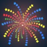 Enkla färgrika stjärnafyrverkerier. Arkivbild