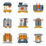 Enkla färgrika symboler för kaffemaskiner Royaltyfri Foto