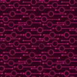 Enkla geometriska gl?dande rundor och linjer p? m?rk bakgrund Neonljus p? s?ml?sa modeller f?r abstrakt vektor f?r textil, tryck vektor illustrationer