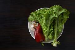 Enkla grönsaker på plattan Arkivbild