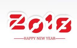 2018 enkla handstil för lyckligt nytt år med röd skuggning Arkivfoto