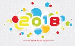 2018 enkla handstil för lyckligt nytt år som är multicolour med skuggning royaltyfri illustrationer