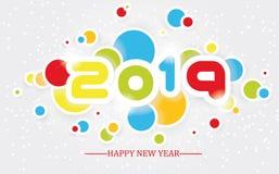 2019 enkla handstil för lyckligt nytt år som är multicolour med skuggning stock illustrationer