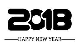 2018 enkla handstilsvart för lyckligt nytt år Royaltyfri Fotografi