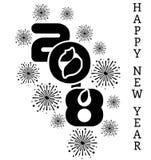 2018 enkla handstilsvart sex för lyckligt nytt år Arkivbilder