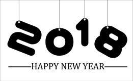 2018 enkla handstilsvart sju för lyckligt nytt år Royaltyfria Foton