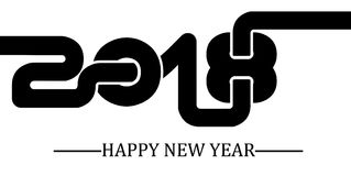2018 enkla handstilsvart två för lyckligt nytt år Fotografering för Bildbyråer