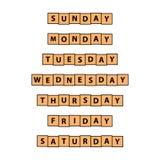 Enkla, plana trätegelplattadagar av veckan planlägger Varje dag Isolerat på vit vektor illustrationer