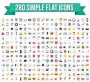280 enkla plana vektorsymboler Arkivbilder
