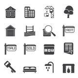 Enkla Real Estate för kontur symboler Fotografering för Bildbyråer