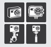 Enkla rengöringsduksymboler: Handlingkamera Arkivbilder