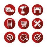 Enkla shoppingsymboler för grundläggande vektor Arkivfoto