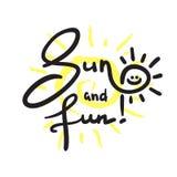 Enkla sol och gyckel - inspirera och det motivational citationstecknet Hand dragen härlig bokstäver vektor illustrationer