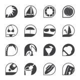 Enkla sommar- och feriesymboler för kontur Arkivfoto