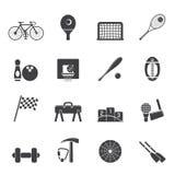 Enkla sportar kugghjul för kontur och hjälpmedelsymboler Arkivbild