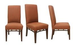 Enkla stolar från olik sikt som isoleras på vit bakgrund Arkivbilder