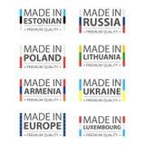 Enkla vektorlogoer som göras i estländare, Ryssland, polermedel, Litauen, Armenien, Ukraina, Luxembourg och Made i europeisk unio stock illustrationer
