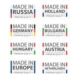 Enkla vektorlogoer som göras i Tyskland, Ryssland, Ungern, Holland, Bulgarien, Österrike, Nederland och Made i europeisk union Arkivfoto