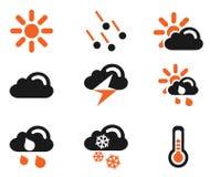 Enkla vektorsymboler för väder Arkivbild