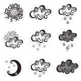 Enkla vektorsymboler för väder Arkivbilder