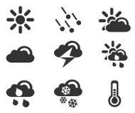 Enkla vektorsymboler för väder Arkivfoto