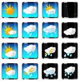 Enkla vektorsymboler för väder Royaltyfri Foto