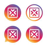 Enlarge or resize icon. Full Screen extend. Enlarge or resize icon. Full Screen extend symbol. Gradient buttons with flat icon. Speech bubble sign. Vector Stock Photos