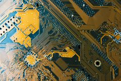 Closeup shoot of the microchip on circuit board Royalty Free Stock Images