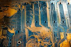 Closeup shoot of the microchip on circuit board Stock Photography