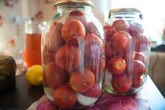 Enlatado de tomates en latas Fotografía de archivo